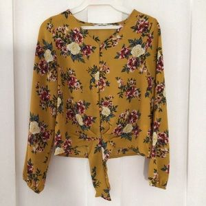 Girls Yellow Floral Silk Button Up Top -Urban Kids